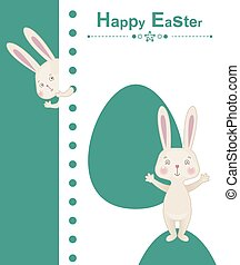 Happy easter rabbit - greeting easter card