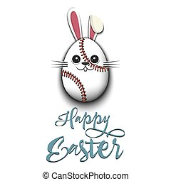 Happy Easter. Rabbit in the form of baseball ball