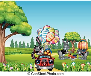 Happy easter rabbit riding a car with chick holding decorated balloons