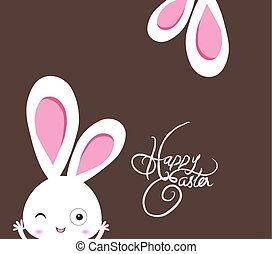 happy easter rabbit with ear background