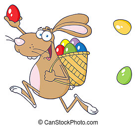 Happy Easter Rabbit With Egg - Brown Bunny Participating In...