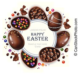 Happy Easter round card with chocolate bunny and eggs. Vector 3d realistic illustrations