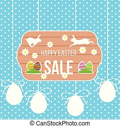 Happy Easter Sale Banner with Running Rabbit and Eggs