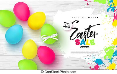 Happy Easter sale banner.Background with beautiful colorful eggs and blots on wooden texture. Vector illustration for posters, coupons, promotional material.