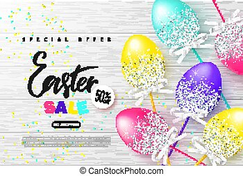 Happy Easter sale banner.Background with beautiful colorful eggs on wooden texture. Vector illustration for posters, coupons, promotional material.