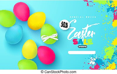 Happy Easter sale banner.Background with beautiful colorful eggs. Vector illustration for posters, coupons, promotional material.