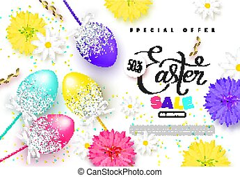 Happy Easter sale banner.Background with beautiful eggs,flowers and serpentine. Vector illustration for posters, coupons, promotional material.