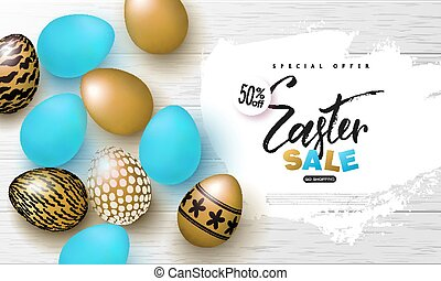 Happy Easter sale banner.Background with beautiful gold and blue eggs on wooden texture. Vector illustration for posters, coupons, promotional material.