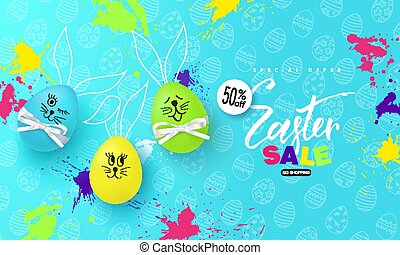 Happy Easter sale banner.Background with fun colorful eggs and blots. Vector illustration for posters, coupons, promotional material.