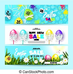 Happy Easter Sale Horizontal Banners Set with colorful eggs. Vector Illustration. Season sale. Concept for web banners and promotional materials.