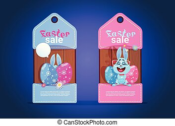 Happy Easter Sale Tags With Cute Bunny And Colofrul Eggs Seasonal Discount Concept Flat Vector Illustration