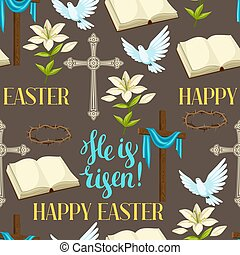 Happy Easter seamless pattern of decorative objects. Religious symbols of faith