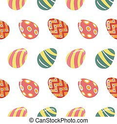 Happy Easter Seamless Pattern with Colorful Easter Eggs