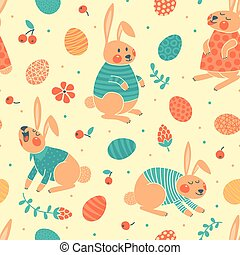 Happy Easter seamless pattern with cute bunnies and eggs....