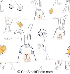 Happy Easter seamless pattern with