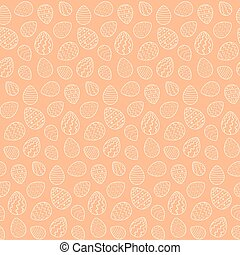 Happy Easter seamless pattern with outline eggs