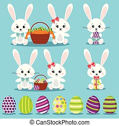Happy Easter set isolated funny rabbits with colorful eggs.