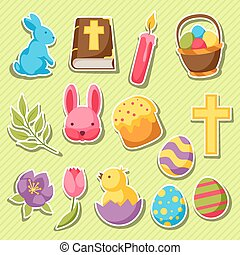 Happy Easter set of decorative objects, eggs and bunnies stickers