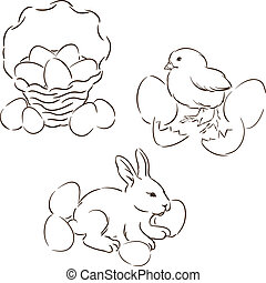 Happy Easter set of hand drawn characters.