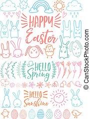 Happy Easter, set of vector doodles