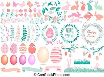 Happy Easter set, vector