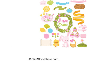 Happy Easter set with cartoon cute bunny