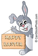 Happy Easter sign and lurking bunny - eps10 vector...