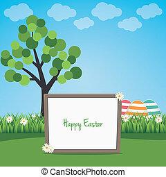happy easter sign board on spring landscape