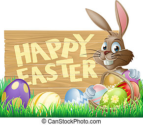 Happy Easter Sign Bunny - An Easter rabbit with a basket of...