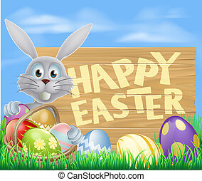 Happy Easter sign with Easter bunny rabbit. Chocolate...