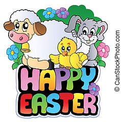 Happy Easter sign with animals - vector illustration.