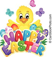 Happy Easter sign with chicken and eggs - eps10 vector...