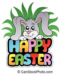 Happy Easter sign with cute bunny - vector illustration.