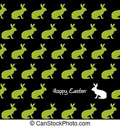 Happy Easter silhouettes - green bunnies - endlessly