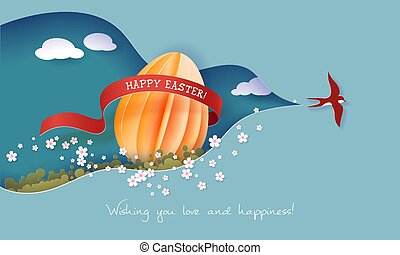 Happy Easter Spring illustration. Paper cut 3d