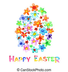 Happy Easter - Egg of watercolor flowers and greeting