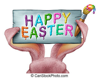 Happy Easter painted on a wood sign with a paint brush and...