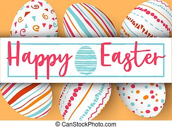 Happy Easter stripe with text on golden background. Easter colorful eggs in vertical line with elegant ornaments and label