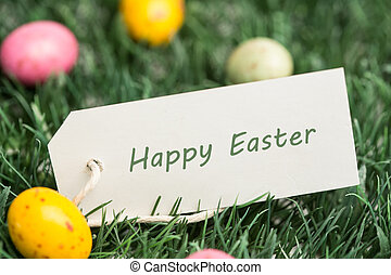 Happy Easter tag with easter eggs