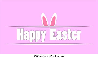 happy easter text and bunny ears on pink background - Happy...
