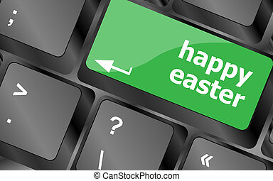 happy Easter text button on keyboard