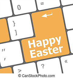 happy easter text button on keyboard keys