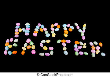 Happy Easter text made from jellybean letters