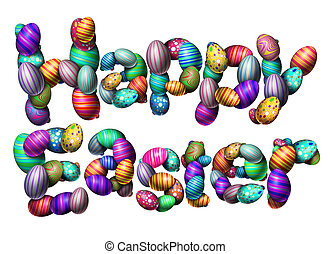Happy Easter Text Isolated