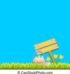 Happy Easter text on sign in lawn with decorated colorful eggs in basket with tulips with blank blue background