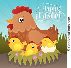 Happy Easter theme with hen and chickens