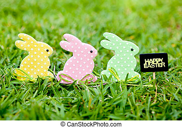 Happy Easter - Three Easter Bunnies