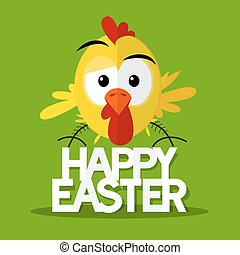 Happy Easter Title with Chick on Green Background