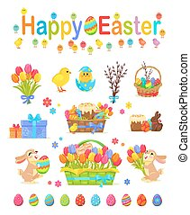 Happy Easter Traditional Elements Concept Poster - Happy...