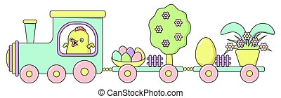 Happy Easter train with a cute chicken, a spring tree in flowers, painted bright eggs, a rabbit hiding behind a flower pot in pastel colors. Horizontal holiday vector banner in flat cartoon style